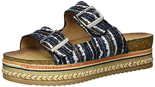 Qupid Women's Espadrille Wedge Sandal, Blue Mutli, 9 M US