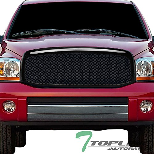 (Topline Autopart Glossy Black Mesh Front Hood Bumper Grill Grille ABS For 06-08 Dodge Ram 1500 ; 06-09 2500 / 3500)