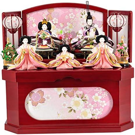 雛人形収納飾り 朱塗 花園六角収納 【W63cm×D43cm×H60cm】