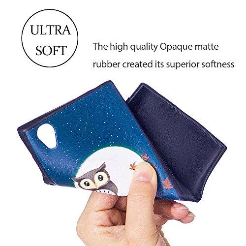 Funda Sony Xperia L1, Carcasa Sony L1 Silicona, RosyHeart Suave Caucho Mate gel TPU Silicone Case Ultra-slim Ligero Protector Cover Bumper para Sony Xperia L1 (5.5 pulgadas) - Mariposa Dorada 2 Buho de medianoche