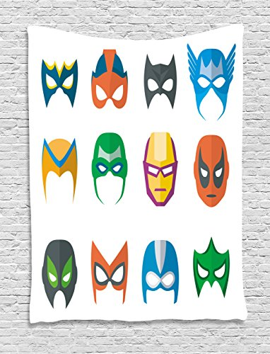 [Superhero Tapestry by Ambesonne, Hero Mask Female Male Costume Power Justice People Fashion Icons Kids Display, Wall Hanging for Bedroom Living Room Dorm, 60 W X 80 L Inches, Multicolor] (Female 80's Icons Costume Ideas)