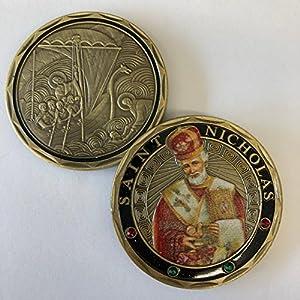 Aizics Mint ST. Nicholas - Patron Saint of Sailors, Merchants - Wonderworker - Commemorative Challenge Coin. Cast with Colorized Saint and Iron Plating & Ancient Bronze Original one-of-a-Kind Design. by Aizics Mint