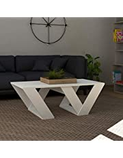 JV Home Pipra Collection 43 Inch Grand Coffee Table with Tray Stylish | Modern Rectangle Coffee Table for Living Room (White)