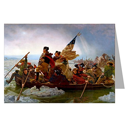 Single Vintage Greeting Card of George Washington Crossing the Delaware by Emanuel Leutze, Museum Modern Art-1851.