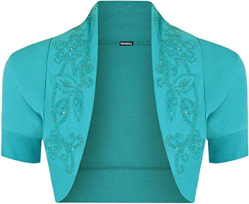 36 WearAll cardigan Manches Tailles Femme courtes Turquoise 42 Hauts 6rPrqEYaw