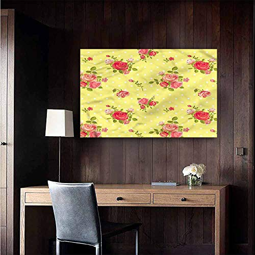 Gabriesl Wall Sticker self-Adhesive Rose Old Fashioned Feminine Landscape Scenery Painting Size : W48 x ()