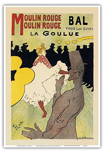 Pacifica Island Art - Dance Hall Moulin Rouge Paris - Vintage Cabaret Casino Poster by Henri de Toulouse-Lautrec c.1891 - Master Art Print - 13 x 19 in