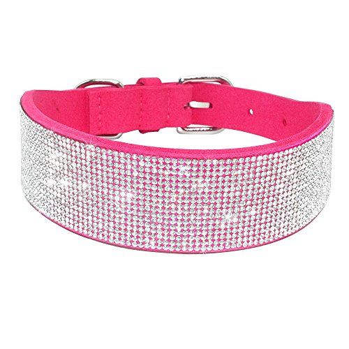 Didog Rhinestone Dog Collar - Made of Soft Velvet Colored Ma