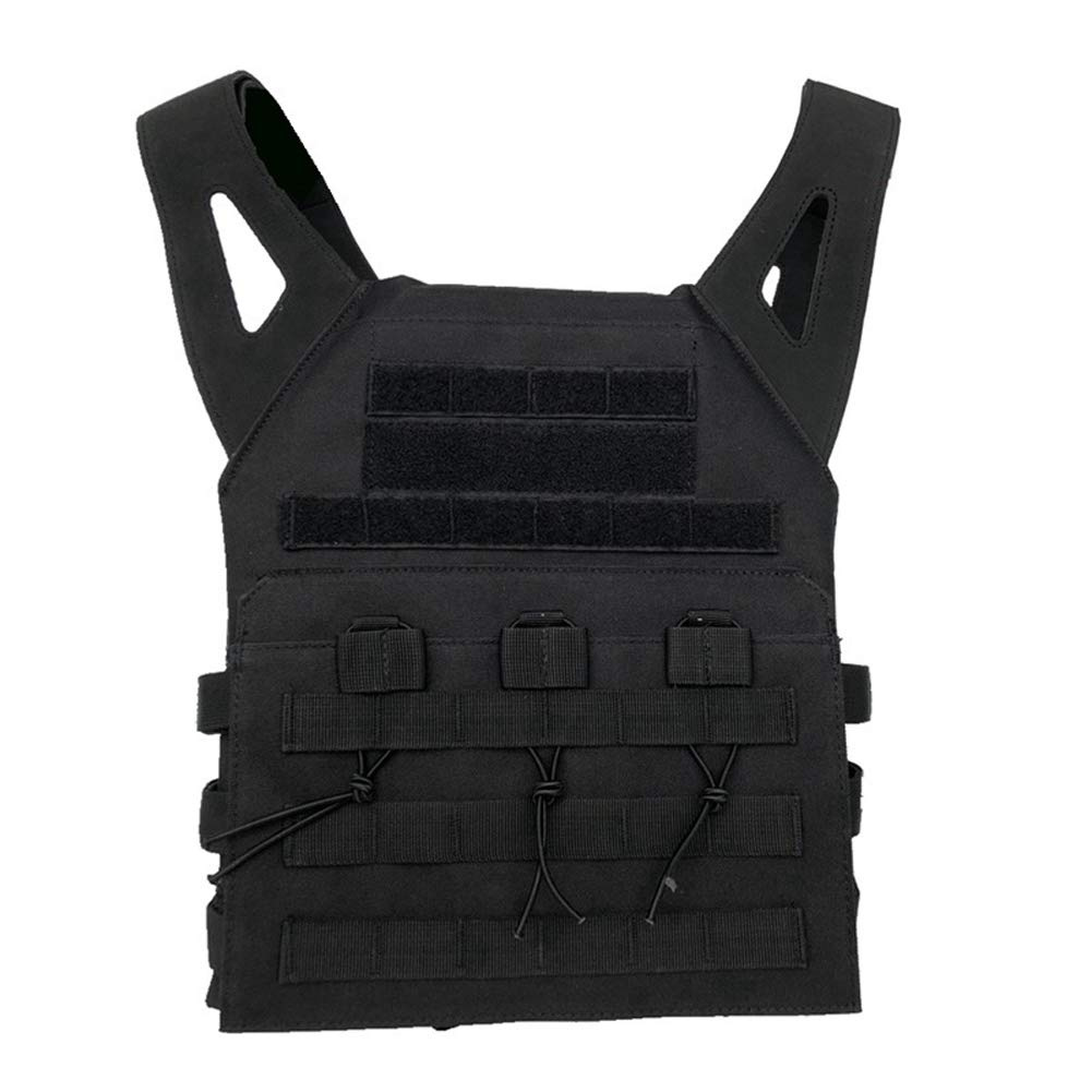 LXY&AI Outdoor Tactical Vest - 600D Nylon Leichte Kampfweste - Airsoft Paintball Atmungsaktive Einstellbare Weste - Molle System - Schwarz