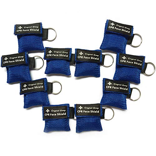 (100-Pack CPR Masks Keychain Ring Emergency Kit - Mini Portable CPR Rescue Mask Face Shields with One-way Valve Breathing Barrier for First Aid or AED Training, Easy to Carry (Blue))