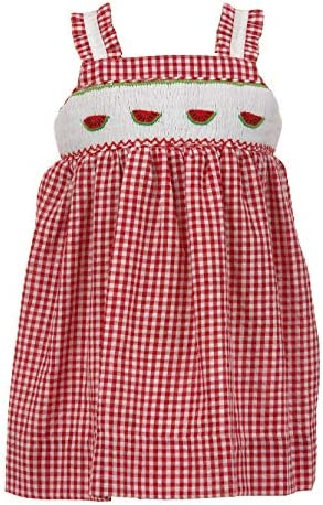 Carriage Boutique Baby Girl Red Checkered Watermelon Dresswith Ruffled Straps 24 Months
