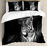 Black and White Decorations King Size Duvet Cover Set by Ambesonne, Bengal Tiger Lying in Grass Africa Savannah Monochrome Image, Decorative 3 Piece Bedding Set with 2 Pillow Shams, Black White