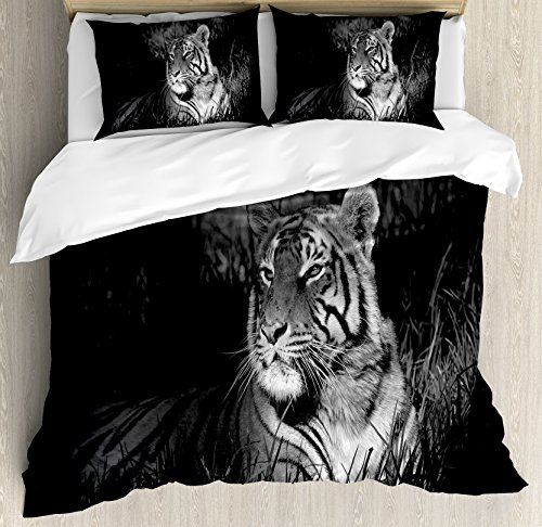 Black and White Decorations King Size Duvet Cover Set by Ambesonne, Bengal Tiger Lying in Grass Africa Savannah Monochrome Image, Decorative 3 Piece Bedding Set with 2 Pillow Shams, Black White by Ambesonne