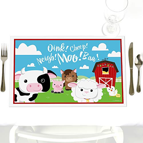 Farm Placemat - Farm Animals - Party Table Decorations - Baby Shower or Birthday Party Placemats - Set of 12