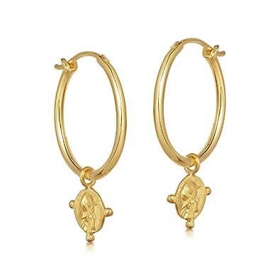 Vielzahl von Designs und Farben bis zu 60% sparen Heiß-Verkauf am neuesten Ohrringe Gold mit Coin Anhänger. Creolen aus 925 Sterling Silber und 14K  Gold Plattierung. Handgearbeitete Ohrringe Damen aus Gold, designed in ...