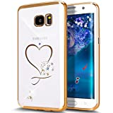Galaxy S7 Edge Case,ikasus Mini Love Heart Glitter Bling Crystal Rhinestone Diamonds Clear Rubber Golden Electroplate Plating Frame TPU Soft Silicone Bumper Case Cover for Samsung Galaxy S7 Edge
