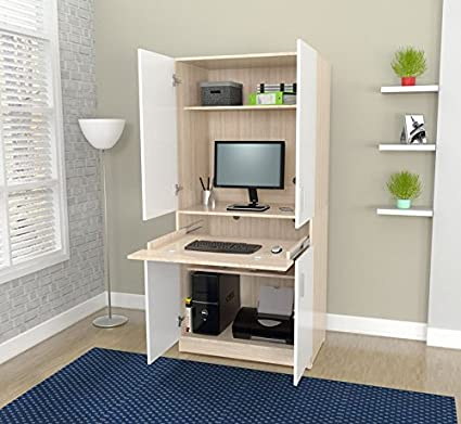 Home Office Armoire Desk, 4 Doors With Metal Handles, 4 Shelfs For Storage,