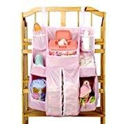 Hanging Diaper Caddy Nursery Organizer Storage Bag for Baby with Another 2 Extension Velcro Crib Storage. (Pink)