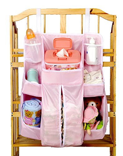 Hanging Diaper Caddy Nursery Organizer Storage Bag for Baby with Another 2 Extension Velcro Crib Storage. (Pink) -