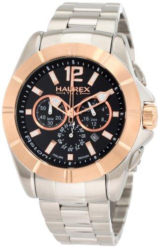 Haurex Italy Men's 0D366UNH Aston Chronograph Rose Gold-Tone Bezel Stainless Steel Watch - Watch Stainless Aston Steel