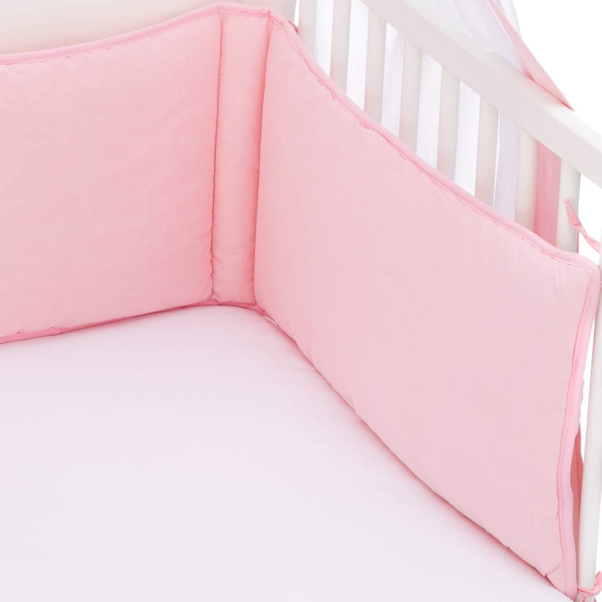 HELLBLAU Babybett Umrandung Nestchen und Betthimmel Schleier im Set 100/% Baumwolle