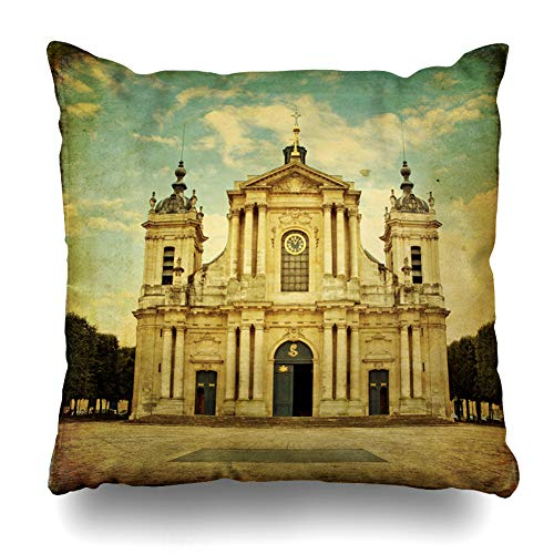 - Ahawoso Throw Pillow Cover Church Notre Dame Versailles Vintage Paris in Antique Attraction Cathedral Catholic Christian Design Home Decor Pillow Case Square Size 16x16 Inches Zippered Pillowcase
