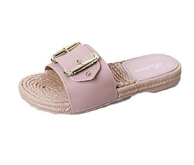 0f819c61ca9620 LaoZanA Damen Sandalen Komfort Sandaletten Metallic Schlappen Hausschuhe  Pantoletten Bequem Schuhe Pink