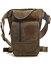 Drop Leg Bag Canvas Thigh Pouch for Men Women Tactical Military Motorcycle Bike Cycling Multi-pocket Waist Fanny Pack Travel Hiking Climbing Outdoor Pocket Coffee