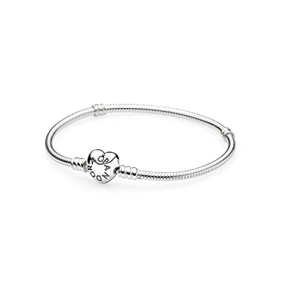 PANDORA 590719 Sterling Silver Heart Clasp Bracelet (6.7 inches) xsjzE