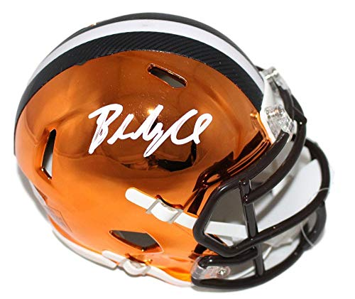 Baker Mayfield Autographed/Signed Cleveland Browns Chrome Mini Helmet BAS