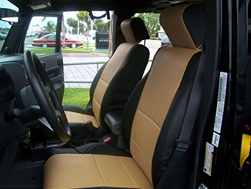 Jeep Wrangler JK 4Doors 2007-2012 Black/Beige Artificial leather Custom Made Original fit Front seat covers