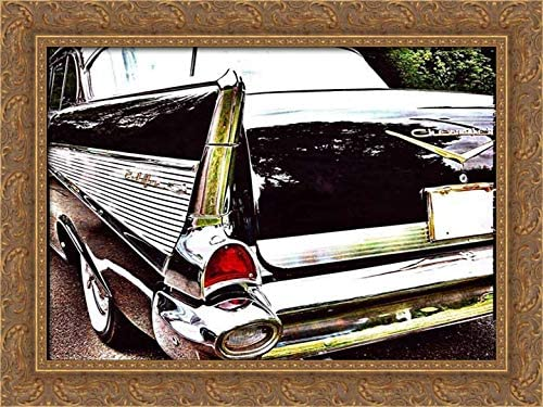 Canvas Fins of a 1957 Chevrolet Art print POSTER