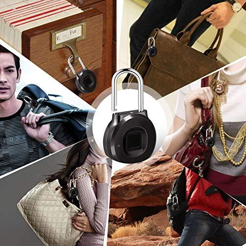Uervoton Fingerprint Padlock, Smart Lock Ideal for School Locker, Duffel Bag, Shopping Carts, Suitcase, Gym Locker, Cabinet, Cupboard, Drawer and More Indoor Applications (Small) by Uervoton (Image #5)