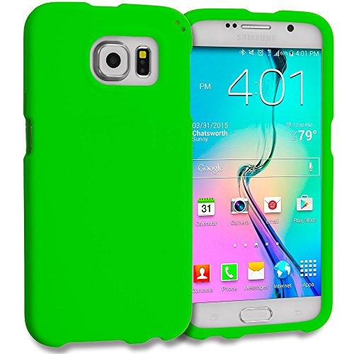 Samsung Galaxy S6 Case, TechSpec(TM) Neon Green Hard Rubberized Case (Neon Green Hard Case)