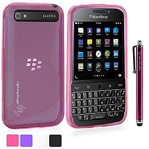 LK BlackBerry Classic Case - S Shape Slim TPU Gel Rubber Soft Skin Case Cover for BlackBerry Classic + Stylus Pen (Hot Pink)