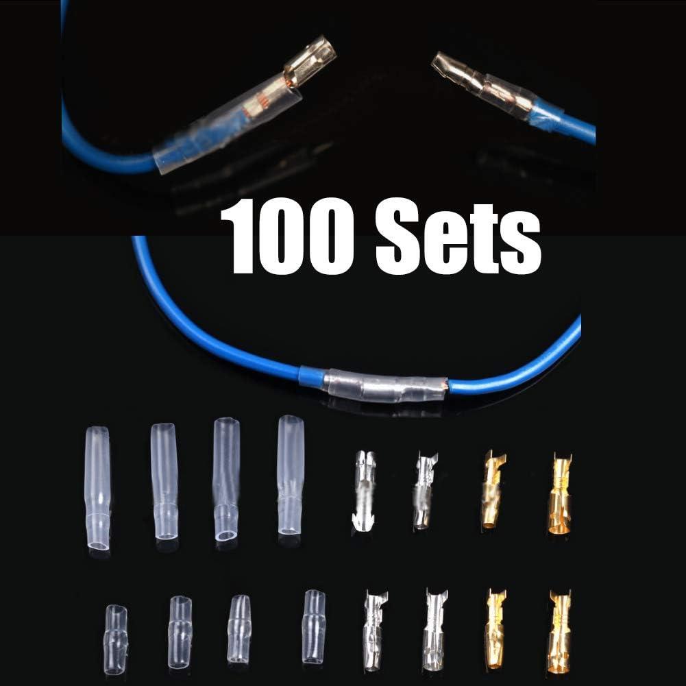 conectores aislados bici 100 motocicleta quad Conectores redondos de lat/ón de 3,9 mm para terminales de cable macho y hembra cami/ón juego de fundas para coche conectores planos