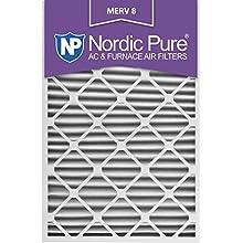 Nordic Pure 20x30x2M8-3 MERV 8 Pleated AC Furnace Air Filter , 20x30x2, Box of 3