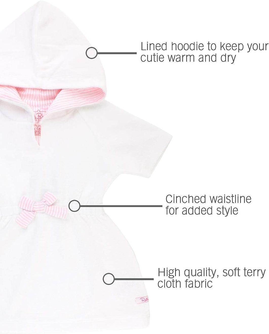 RuffleButts Girls Terry Cloth Hoodie Swim Beach Cover Up Dress