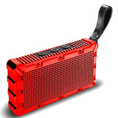 Wireless Waterproof Bluetooth Speaker by Kong Kim,Portable Mini Pocket Size Hands Free 5W Loud Sound Box,IP67 Floating for Swimming Pool Bathroom Shower Beach Outdoor Sports -Red by KONG KIM