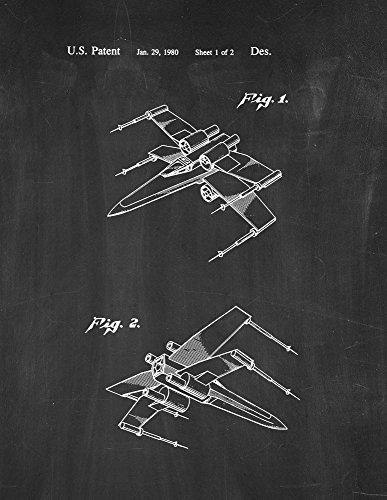 Star Wars X-Wing Fighter Patent Print Chalkboard (8.5' x 11') M10564