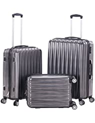 3pcs Hardshell Spinner Luggage Sets Lightweight Grey Suitcase