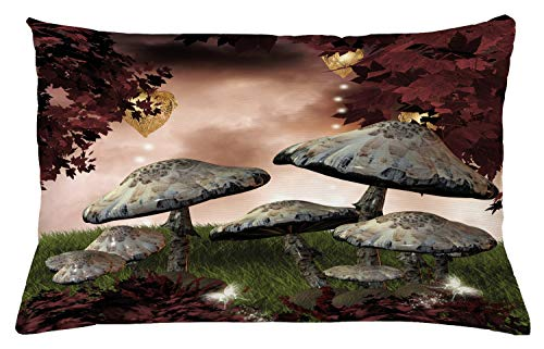 "Ambesonne Fantasy Throw Pillow Cushion Cover, Enchanted Fairytale Forest Scenery with Mushrooms and Fairies Dark Image, Decorative Rectangle Accent Pillow Case, 26"" X 16"", Maroon Grey"