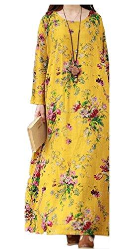 Long Long Print Floral Maxi Women's Linen Sleeve Dress Cotton 1 Vintage Jaycargogo nq1axy1g