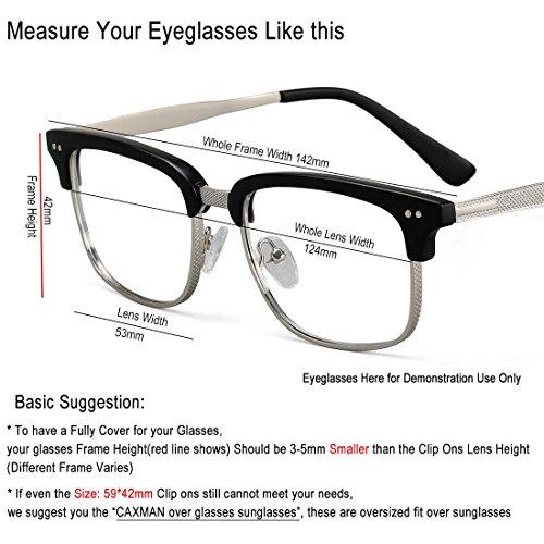 JESSIEDANTON Polarized Clip-on Flip Up Metal Clip Rimless Sunglasses, Lightweight, XL Size, Black Lens by CAXMAN (Image #5)
