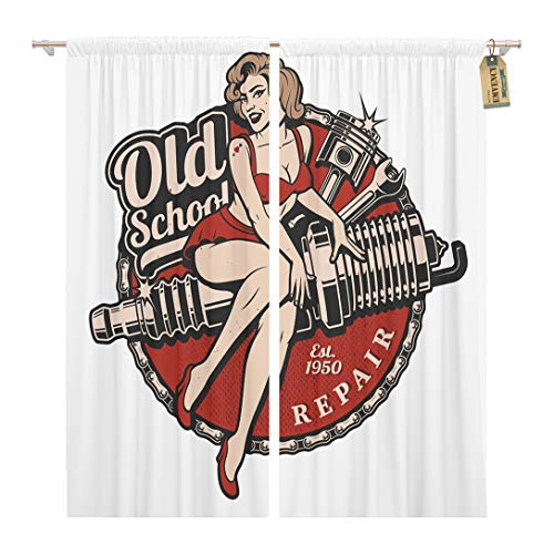 (Golee Window Curtain Spark Plug Pin Up Girl Piston and Wrench Vintage Home Decor Rod Pocket Drapes 2 Panels Curtain 104 x 84 inches)