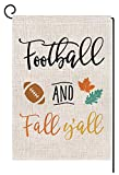BLKWHT 168810 Football and Fall Y'all Small Garden Flag Vertical Double Sided 12.5 x 18 Inch Autumn Leaves Quote Saying Burlap Yard Outdoor Decor: more info