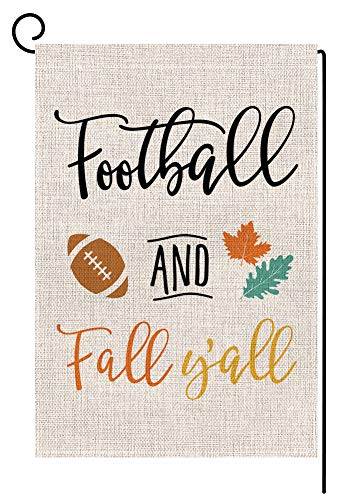 BLKWHT 168810 Football and Fall Y'all Small Garden Flag Vertical Double Sided 12.5 x 18 Inch Autumn Leaves Quote Saying Burlap Yard Outdoor Decor
