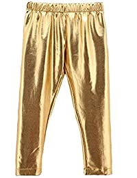 Baby Toddler Teens Girls Shiny Gold Tights Leggings PantsTrousers for 0-9 Years