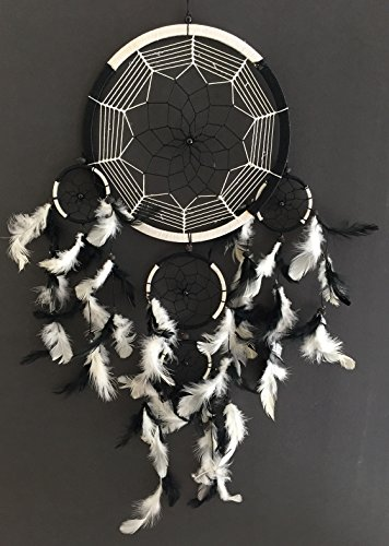 OMA Large Dream Catcher Traditional Tie Dye Colors Black & White Feathers - 8.5
