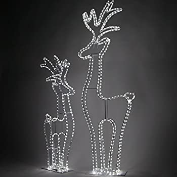 wintergreen lighting 3d cool white led christmas reindeer yard decorations 5 ft tall 468